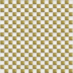 413 Мозаика шахматка белый-золото