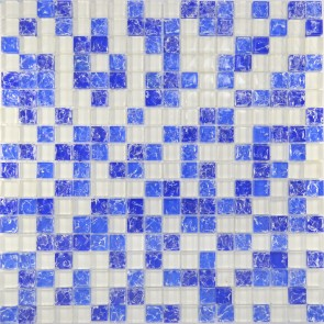 450 Мозаика микс белый-синий колотый-голубой колотый