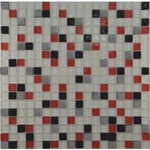 458 Мозаика микс белый-красный-черный-платина