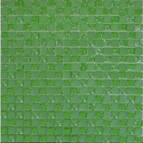 485 Мозаика шахматка зеленый матовый-зеленый колотый