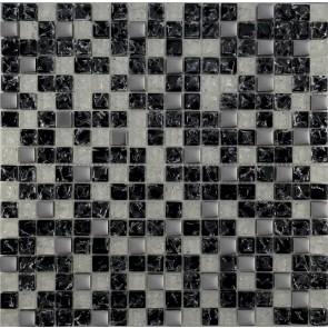 503 Мозаика микс черный колотый - белый  колотый - платина