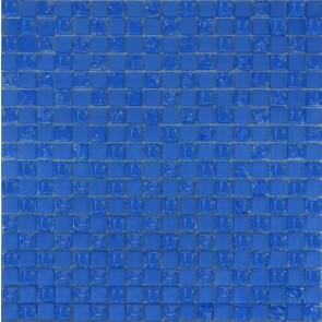 531 Мозаика шахматка голубой матовый-голубой колотый