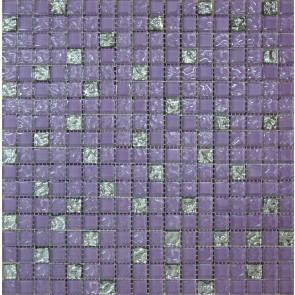 569 Мозаика микс фиолетовый рельефный-рельефна платина