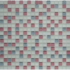 581 Мозаика микс белый матовый серый рифленый розовый