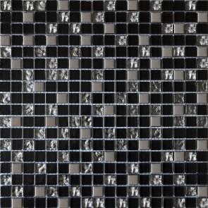 912 Мозаика микс черный-платина рифлена - платина