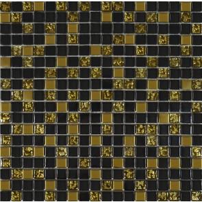 913 Мозаика микс черный-золото рифленое-золото