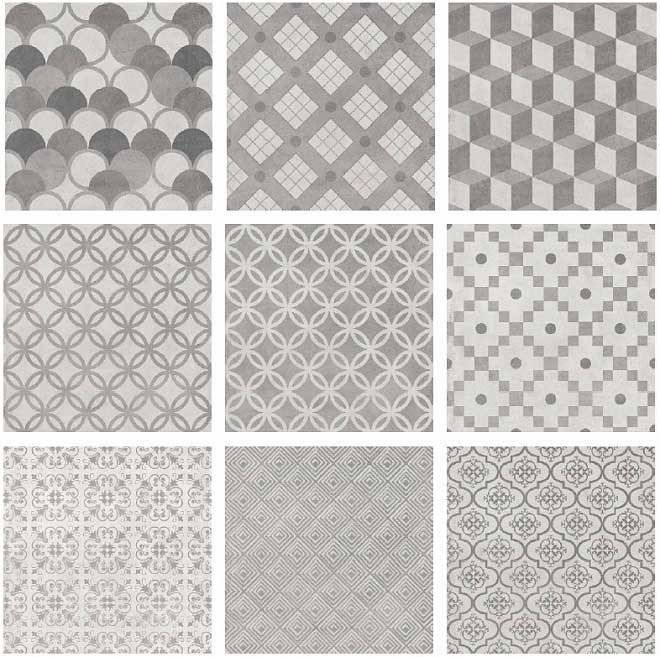 Плитка підлога Карнабі-Стріт 20х20 орнамент сірий